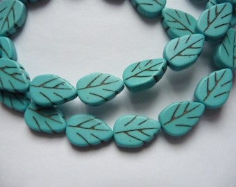 SALE!! Bead, Magnesite, Dyed,  Stabilized, Blue-Green, 13x8mm-14x9mm, Carved Leaf, C Grade, Mohs Hardness 3-1/2 to 4, Pkg Of 10 SALE!