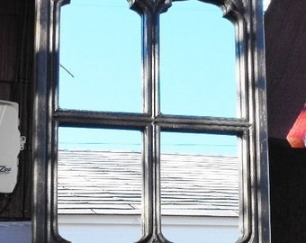 Gothic Window Frame Mirror  Distressed Black