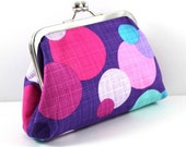 SALE Clutch in Hot Colors of Purple, Hot Pink, Blue.  Cosmetic Bag, Essentials Bag, Change Purse FREE SHIPPING