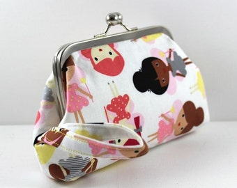 SALE Hello Dolly Cotton Print Clutch on a 6 inch Silver Kiss Lock Frame Cosmetic bag, Essentials Bag, Change Purse FREE SHIPPING