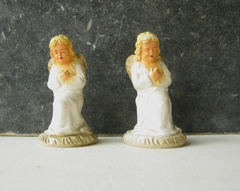 Vintage Plaster Angel, Nativity, Christmas, praying, kneeling