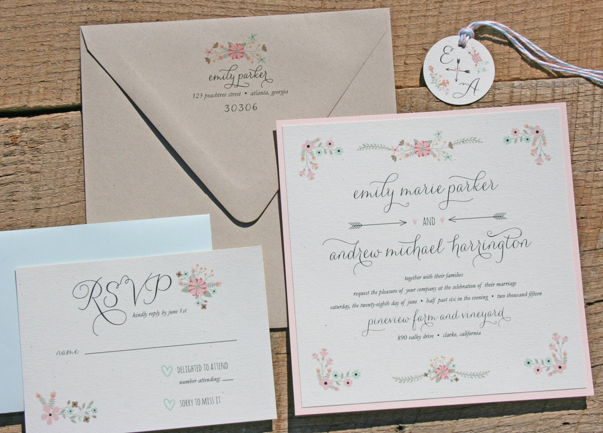 Rustic Wedding Invitation Sets: Floral Wedding Invitation Set In Mint And Blush Rustic
