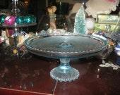 Vintage Cake Plate Depression Glass in Light Blue Vintage Home Collectable