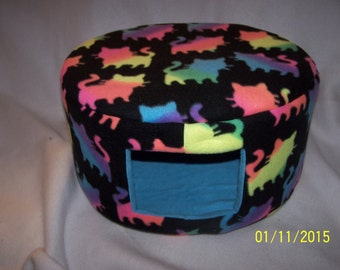 Cat Bed, Dog Bed - Large Fleece Custom Cozy Bed - Rainbow cats on Black