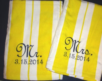 Beach Wedding Gift, Mr and Mrs (set of 2) Beach Towels for Bride and Groom, Mr. Mrs. Wedding Present