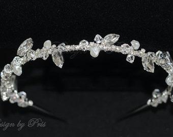 SALE Handmade Bridal Accessories Wedding Hair Accessories Bridal Headband Swarovski Rhinestones Crystals Fresh Water Pearls Headband