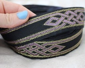 Celtic Dragon Knot Jacquard ribbon trim LILAC and GOLD on BLACK