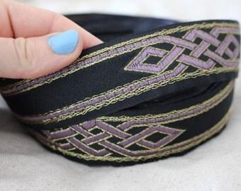Celtic Dragon Knot Jacquard ribbon trim LILAC and GOLD on BLACK
