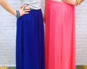 50% off Was 19.99 - now  9.99 - Pink Flowing Chiffon Maxi Skirt - Free Shipping to USA