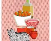 "Still Life with Tabby digital collage art print (8-1/2 x11"")"