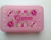 Personalized  pink sparkle pencil case, art, crayon box- butterfly,flowers, ladybugs, polka dots- kids party favor -birthdays,communions