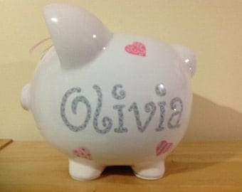 Personalized Kaylee Large Pink and Grey Piggy  Bank Hearts-Newborns ,Girls , Baby Shower Gift Centerpiece