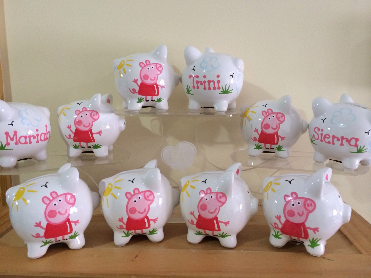 Personalized Peppa Pig Party Favor Piggy Banks 1st Birthday