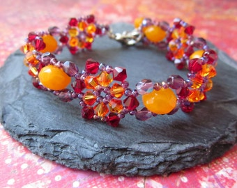 Swarovski Crystal Colorful Bracelet, Beadwoven Crystal Bracelet, Crystal Flower Bracelet,  Purple Orange Bead weaved crystal Bracelet OOAK