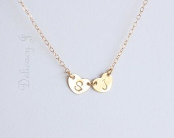 Simple Personalized Heart Necklace With Initials / Custom Hand Stamped Necklace / Gold Heart Necklace / Couple Friendship Necklace / Silver