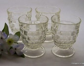 """Vintage Colony """"Whitehall Clear"""" Footed Tumblers, Set of 4 Stacked Cube Tumblers, 9 Oz Whitehall Footed Glasses"""