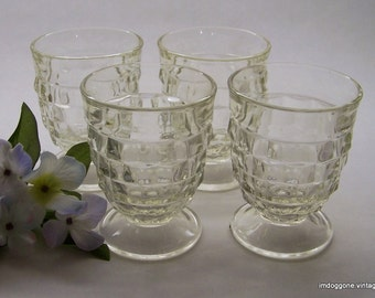 "Vintage Colony ""Whitehall Clear"" Footed Tumblers, Set of 4 Stacked Cube Tumblers, 9 Oz Whitehall Footed Glasses"