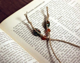 Macrame hemp beaded bookmark with green and oange glass beads  braided