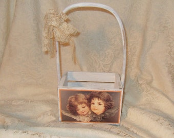 Shabby Cottage Hand Painted Victorian Angel Handled Distressed Wooden Tote