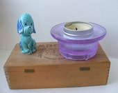 GC Dansk Designs Pillar Candle Holder Neodymium Color-Changing Glass Blue Lavender Sweden