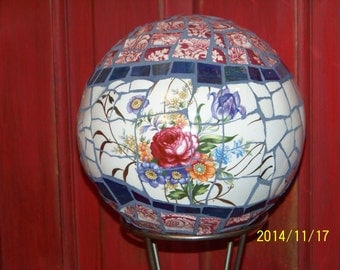 Beautiful large hand made MOSAIC Orb - for indoors or out.   One of a kind with vintage China and stained glass