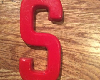 Vintage Red Plastic Store Sign Letter S