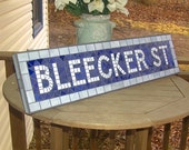 NYC Subway Mosaic Glass Sign for Indoor - BLEECKER ST