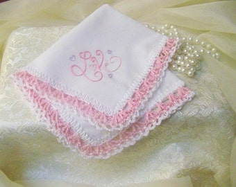 Crochet Handkerchief, Crochet Hanky, Crochet Hankie, Hand Crochet, Lace, Lacy, Love, Pink, Custom, Personalized, Embroidered, Ready to ship