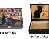 Large Keepsake Box, Chat Noir,Wood, Black Cat Art, Memory Box, Cat Lover Gift, Cat Lady, Jewelry Box,Cat Themed Gifts