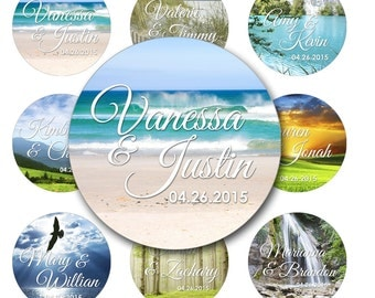 Landscape Photo Personalized Wedding Round Glossy Stickers Favor Labels Beach Mountains Forest 2 Inch or 2.5 Inch or 3 Inch