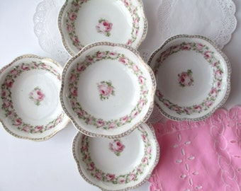Antique Scherzer Bavarian Mignon Pink and Green Rose Berry Bowls Set of Five