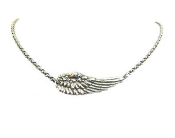Steampunk Angel Wing Necklace- Sterling Silver Ox Finish- Medium Angel Wing