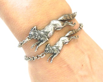 New Steampunk Fox Bracelet Sterling Silver Ox Finish Large Fox