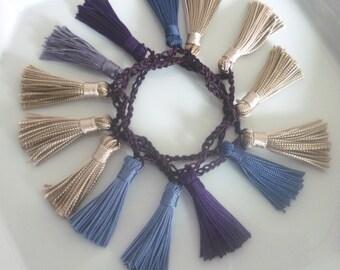 Art silk tassel necklace/bracelet, Moroccan , almond blues and purple crochet necklace/bracelet