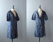 Vintage suit. 60s blue blazer and skirt set. size plus