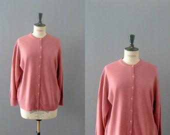 Vintage cardigan. 1970s pink wool cardigan. size plus sweater