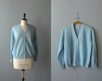 Vintage cardigan. 60s baby blue wool cardigan. grandpa sweater