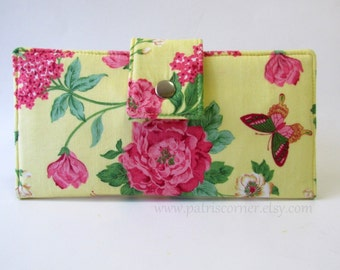 Handmade women's wallet Yellow garden pink yellow flowers, butterflies - vegan clutch