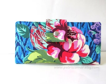 Clearance - Handmade women's wallet Large floral blue ikat - Tapestry rose - ready to ship - Casual look