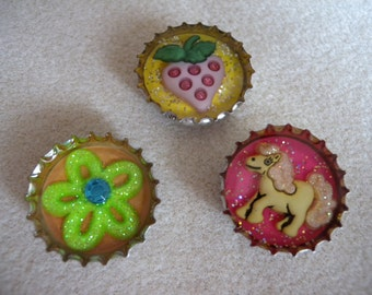 Pretty Glitter Resin Bottle Cap Magnets - Set of Three