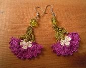 crochet earrings, purple flower
