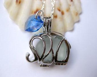 Elephant Pendant Elephant Beach glass Jewelry Beach Glass pendant Handmade SEPT
