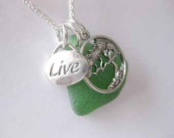 Nature Jewelry Sea glass jewelry charm necklace  SS Message necklace