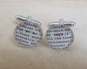 Always and Forever Cuff Links Husband, Finace, Engagement, Anniversary, Marriage, Wedding Dictionary Glass Gem by Kristin Victoria Designs