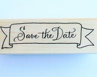 Save the Date Banner rubber stamp