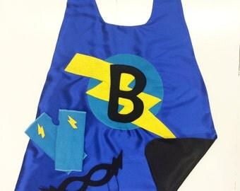 Boys Personalized Cape Set - Customized Gift - Choose the Initial - Includes Cape + Bolt Mask + Power Gloves - Kids Gift