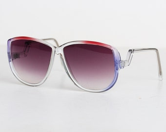 Vintage 70s Purple & Red Oversized Sunglasses