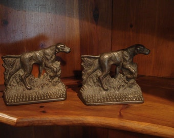 Vintage Pair of Bookends, Hunting Dog Bookends, Vintage Dog Bookends, Adirondack Bookends