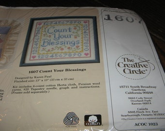 Vintage 1989 Creative Circle Count Your Blessings Sampler Complete Cross Stitch Kit