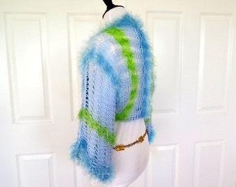 Light Blue sweater shrug, lacy light weight summer weight bolero, fancy knitwear